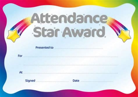 metallic attendance star award certificate school