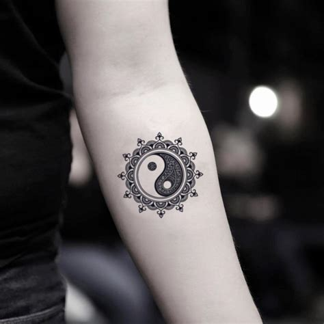 mandala yin  temporary tattoo sticker ohmytat