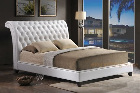 white faux leather tufted queen king bed frame scroll