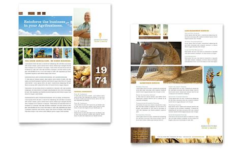 farming agriculture datasheet template design