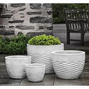 Hyphen, Large, Ceramic, Planters, Snow, White