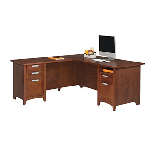office depot desks realspace marbury l shaped desk auburn brown by office