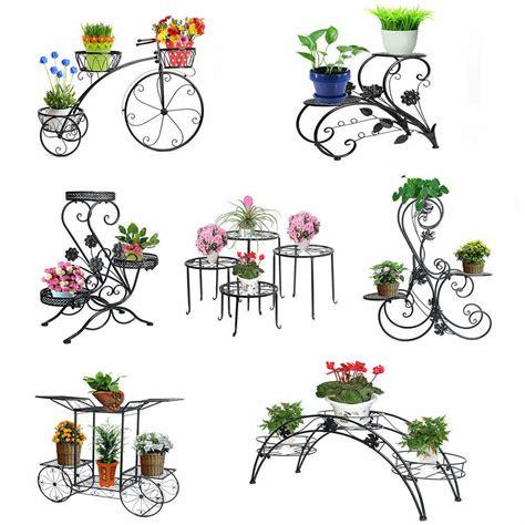 metal outdoor indoor pot plant stand garden decor flower rack wrought iron  ebay