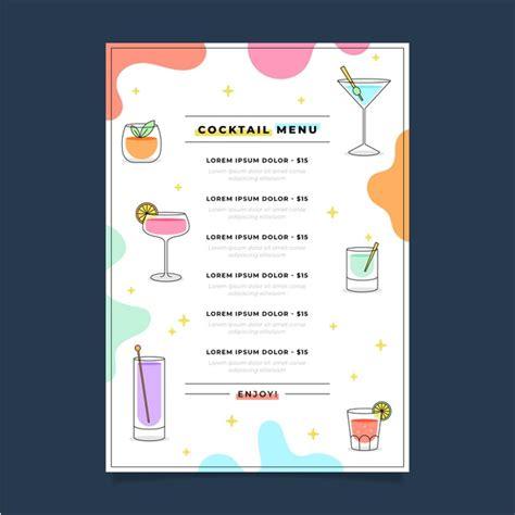 Klicken sie einfach auf eine vorlage und beginnen sie mit der bearbeitung ihrer getränkekarte. Köstliche frische cocktailkarte   Kostenlose Vektor