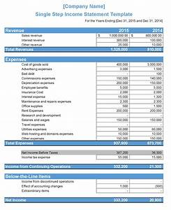 Single Step Income Statement Template | WIKI ACCOUNTING