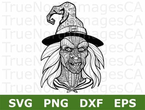A pattern is not always a tangle. Witch SVG / Mandala Witch SVG / Witch Clipart / Halloween ...