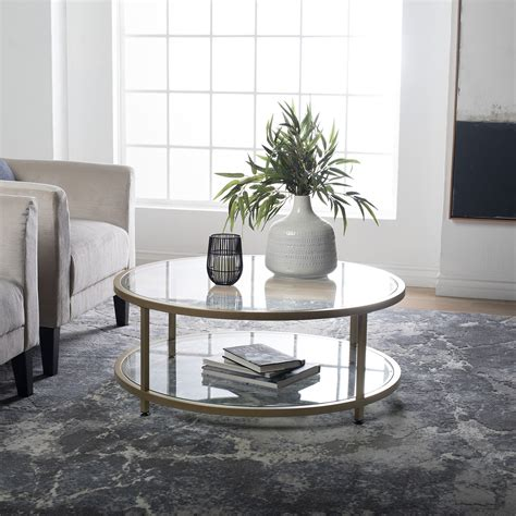 Round glass top coffee table. Camber 38″ Round Coffee Table in Gold/Clear Glass - Item ...