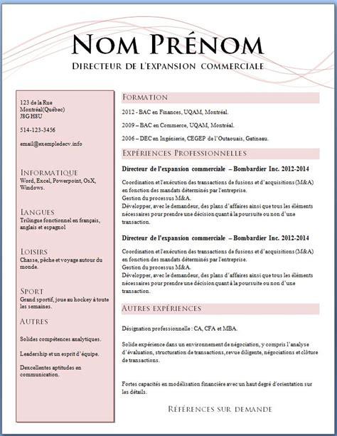 Exemple Pour Cv by Mod 232 Les Et Exemples De Cv 621 224 627 Exemple De Cv Info