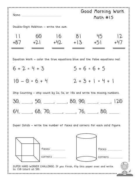 morning work math worksheets 10 best images of 3rd grade morning work worksheets