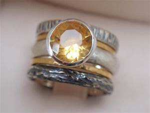Citrine ring engagement ring set of 5 natural november for Citrine wedding ring set