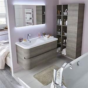 meuble de salle de bains decor bois grise 108 cm voluto With castorama meuble de salle de bain