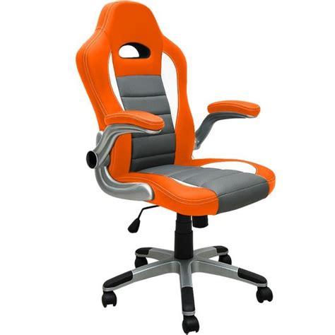 chaise de bureau orange fauteuil de bureau orange et gris baquet pu achat