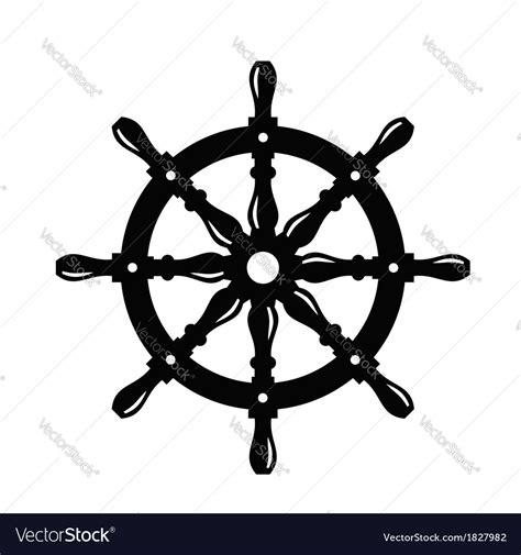 Boat Steering Wheel Silhouette by Ship Steering Wheel Royalty Free Vector Image Vectorstock