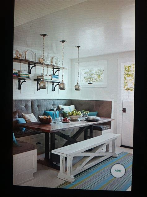 Kitchen Tables With Bench Seating by Built In Bench Seating With A Farmhouse Table