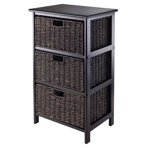 Black Bookcase With Baskets by Omaha Storage Rack With 3 Baskets By Winsome In Shelves