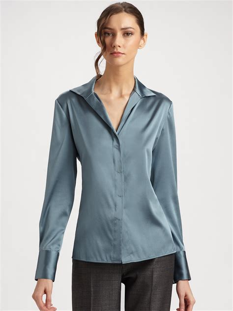 silk charmeuse blouse lyst armani silk charmeuse blouse in blue
