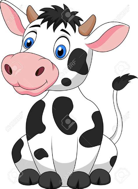 Cute Cow Cartoon Sitting Stock Vector Line Drawings