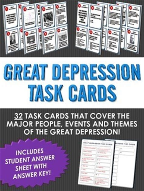 The causes of the great depression is debated by economists a lot. Great Depression - Task Cards (32 Great Depression Task Cards with Answer Sheet)