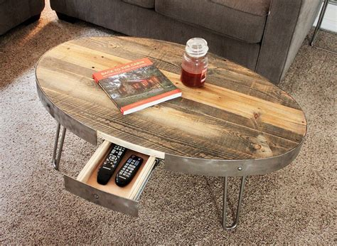 The standard finish draws out the natural colors in the wood and seals and protects. Reclaimed Wood Oval Coffee Table With Hidden Drawer   Coffee table with drawers, Oval coffee ...