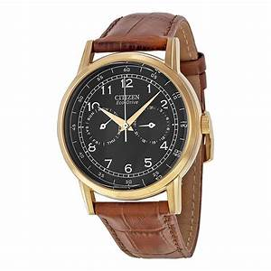 Citizen Eco Drive Black Dial Brown Leather Men's Watch ...