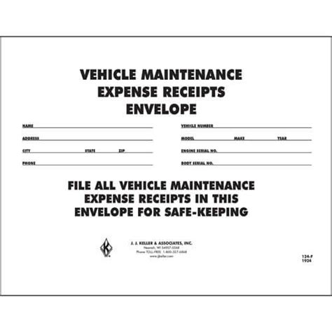 vehicle maintenance receipt envelope