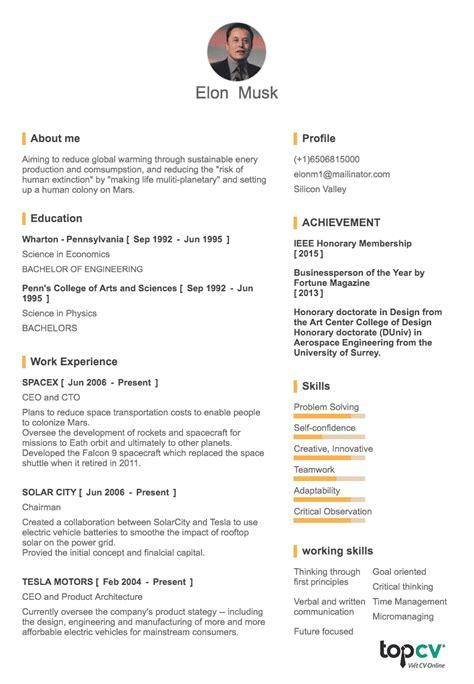 cv onepage elon musk tiny resume topcv vn topcv