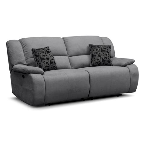 Comfortable Two Seater Reclining Charcoal Sofa And Two