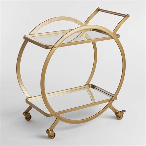 Bar Cart by Asher 2 Tier Gold Rolling Bar Cart World Market