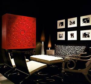Red black and white interiors living rooms kitchens for Black and red living room decor