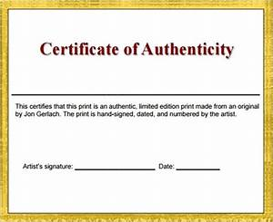 certificate of authenticity template great printable With free printable certificate of authenticity templates