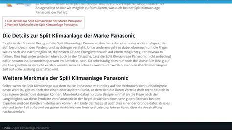 Panasonic Klimaanlage Test by Split Klimaanlage Panasonic Split Klimaanlagen Test