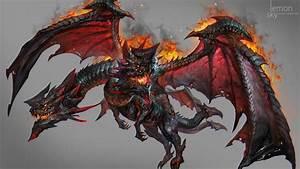 ArtStation - Two head fire dragon , jeremy chong