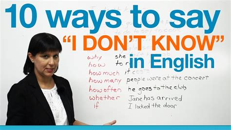 "10 Ways To Say ""i Don't Know"" In English · Engvid"