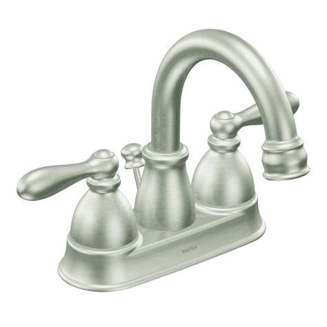 moen bathroom sink faucets shop moen caldwell spot resist brushed nickel 2 handle 4