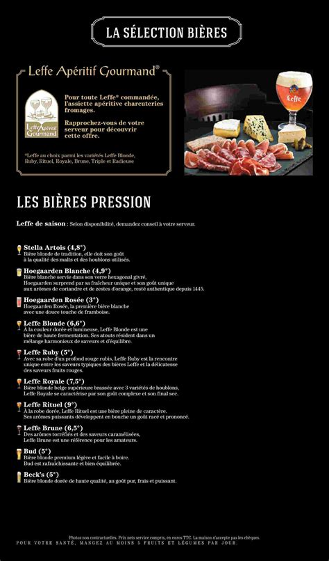 franchise au bureau menu au bureau au bureau la garde carte menu et photos