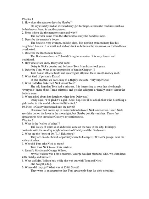 the great gatsby questions answers chapter 1 5