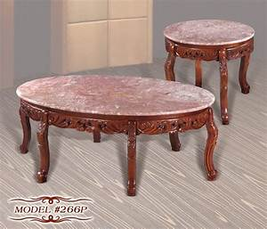 meridian 266p 2 pc cherry pink marble tops solid wood With pink marble coffee table
