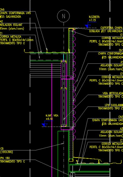 facade section corrugated metal dwg section  autocad