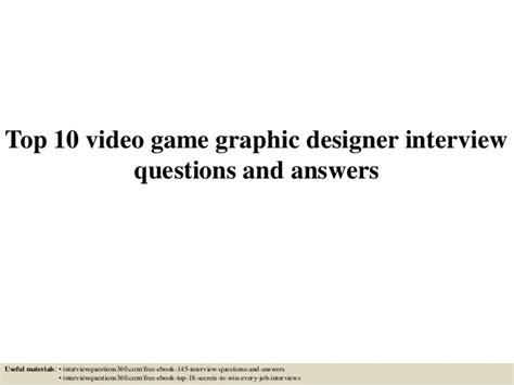 top  video game graphic designer interview questions