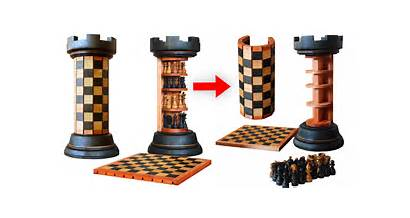Chess Rook Tower Board Pieces Awesome Stand