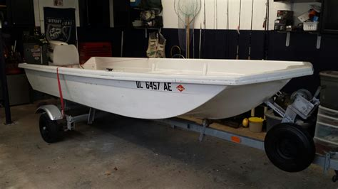 Sears Gamefisher Boat by 14 Skiff With 25hp Johnson And Trailer The Hull