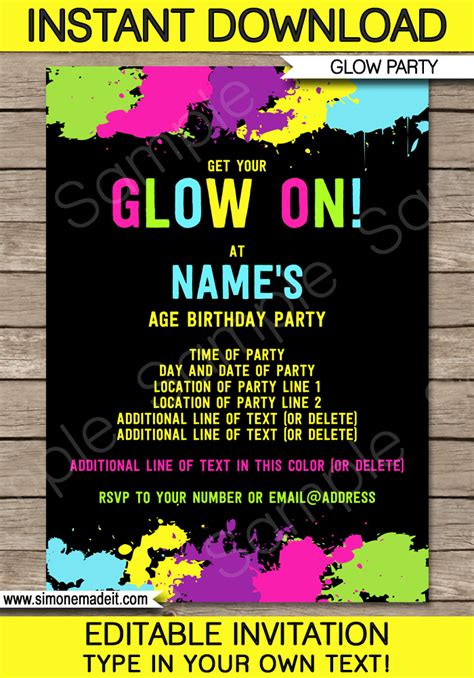 neon glow party invitations template editable  printable