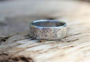 wide mens wedding ring band rustic silver river rock ring With rustic mens wedding rings