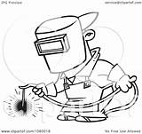Welding Welder Cartoon Outline Coloring Pages Clip Vector Brazing Iron Funny Drawing Designs Cartoons Worker Weld Line Clipart Illustration Tattoo sketch template