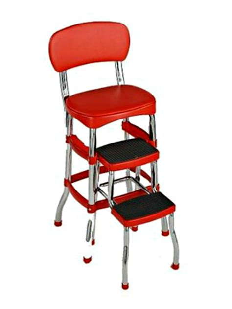 chair with step stool retro chair counter step bar stool chrome ebay