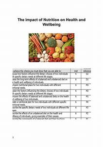 Unit 6  The Impact Of Nutrition On Health And Wellbeing