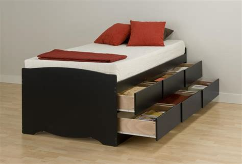 Black Tall Twin Captain's Platform Storage Bed With 6 Drawers
