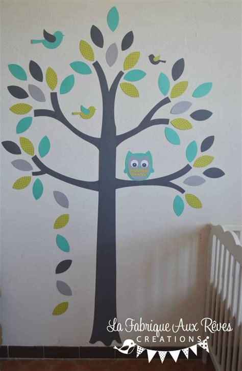 stickers arbre turquoise vert anisle gris hibou oiseaux