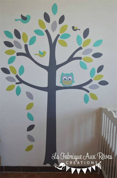 stickers garcon chambre stickers arbre turquoise vert anisle gris hibou oiseaux