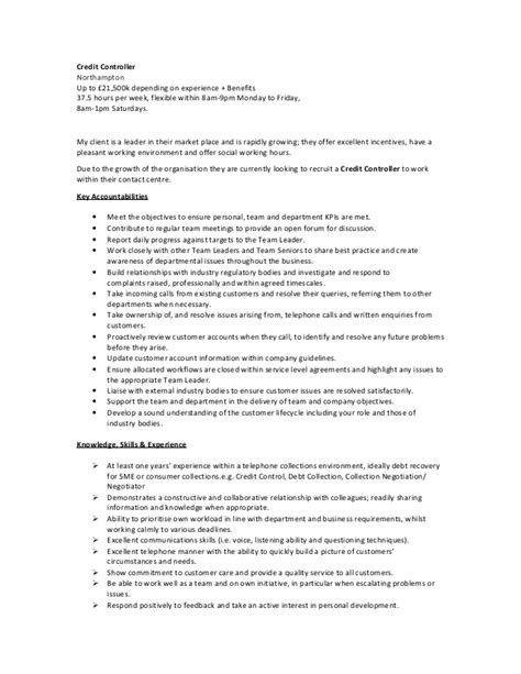Debt Collector Description Resume by Credit Debt Collector